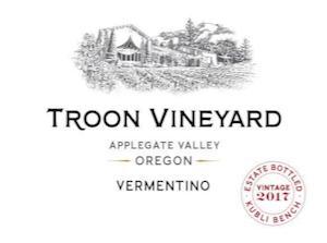 Troon Vineyard Estate - Kubli Bench Vermentino Applegate Valley 2017