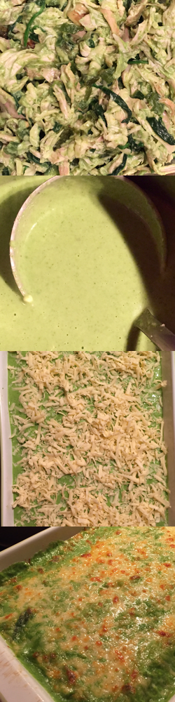 Making Creamy Green Chicken Enchiladas